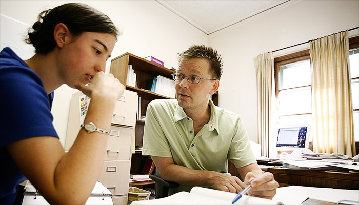 Professor Chris Towse with student