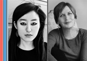 Two black and white headshots side by side. On the left is an Asian woman with long black hair wearing black eyeliner and a black shirt looking at the camera. On the right is a white woman with short hair sitting with one knee up to her chest and looking at the camera.