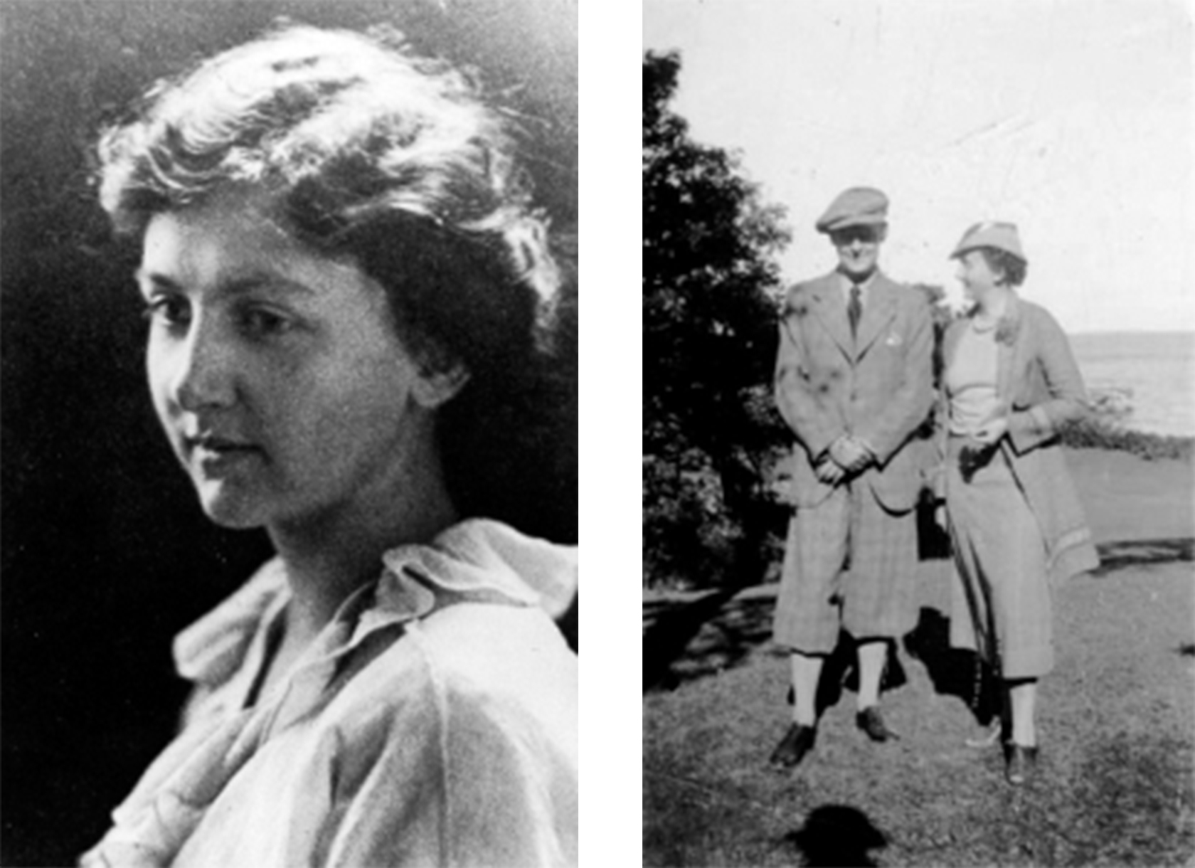 A black and white portrait photo of a white woman with short hair, and a black and white photo of a white man and woman walking together outside.
