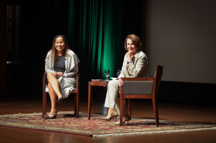 Nancy Pelosi and Vanessa Tyson