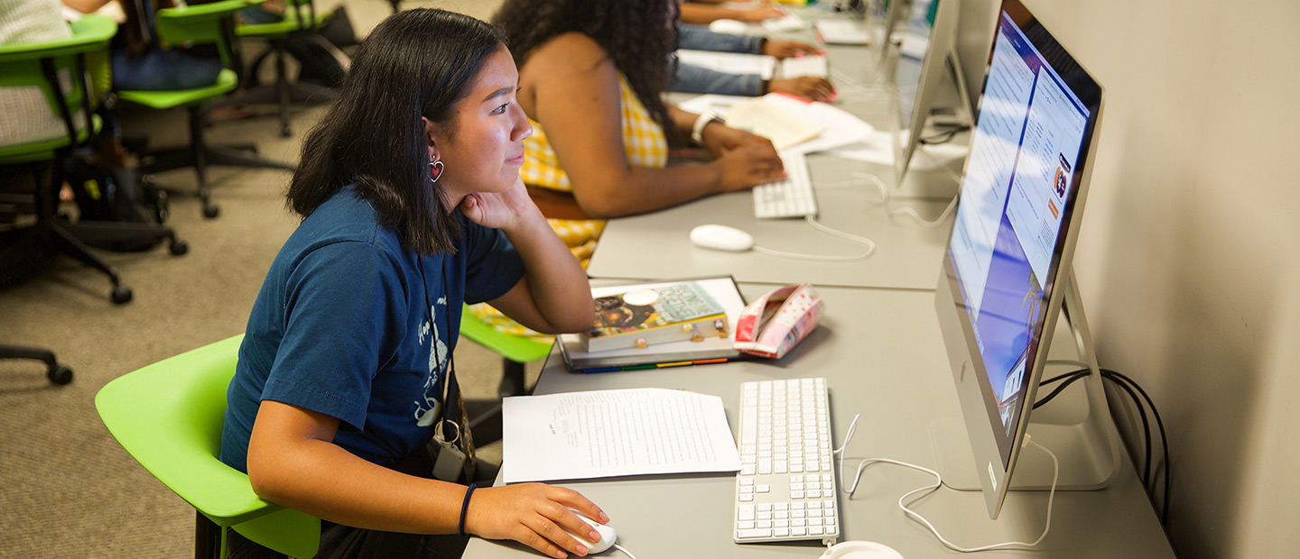 Scripps College Academy student at computer