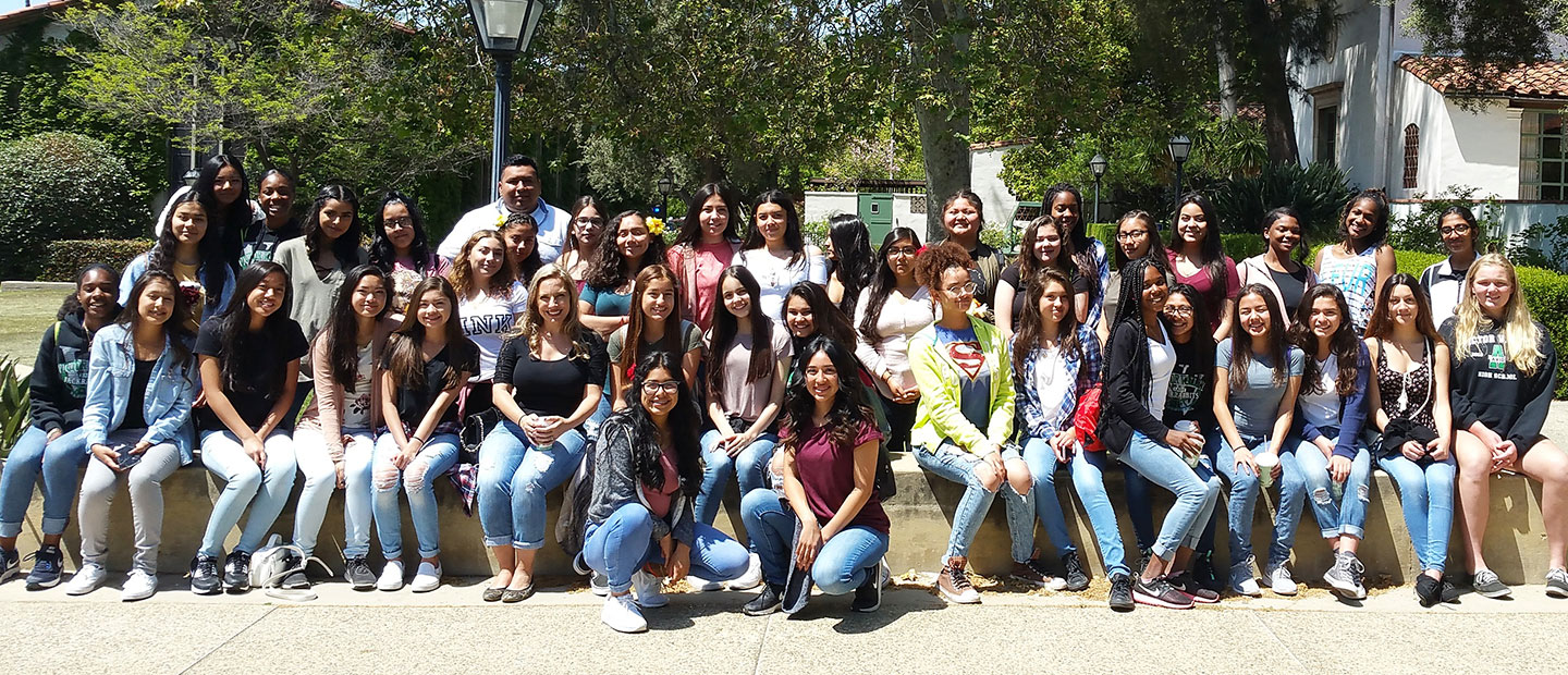 group of students on scripps college campus