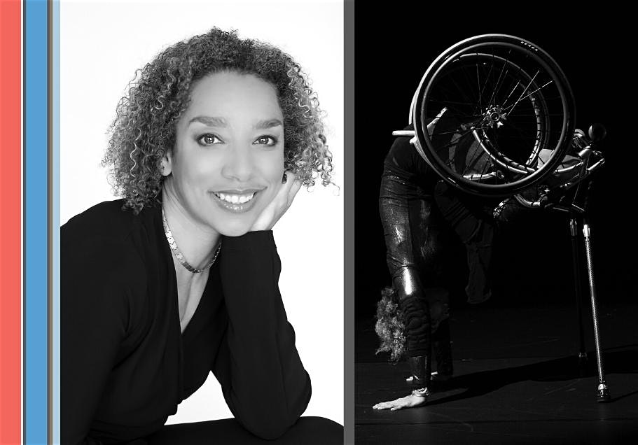 Two black and white photos side by side. On the left is a portrait of a black woman with short, curly brown hair smiling at the camera. On the right is a person doing a handstand in a wheelchair?