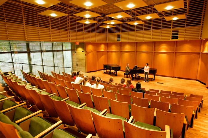 interior of recital hall at Scripps College