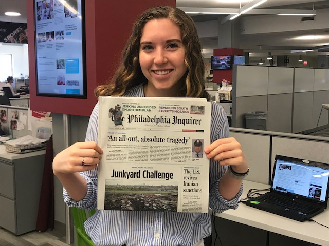 Meghan Bobrowsky '21 at the Philadelphia Inquirer