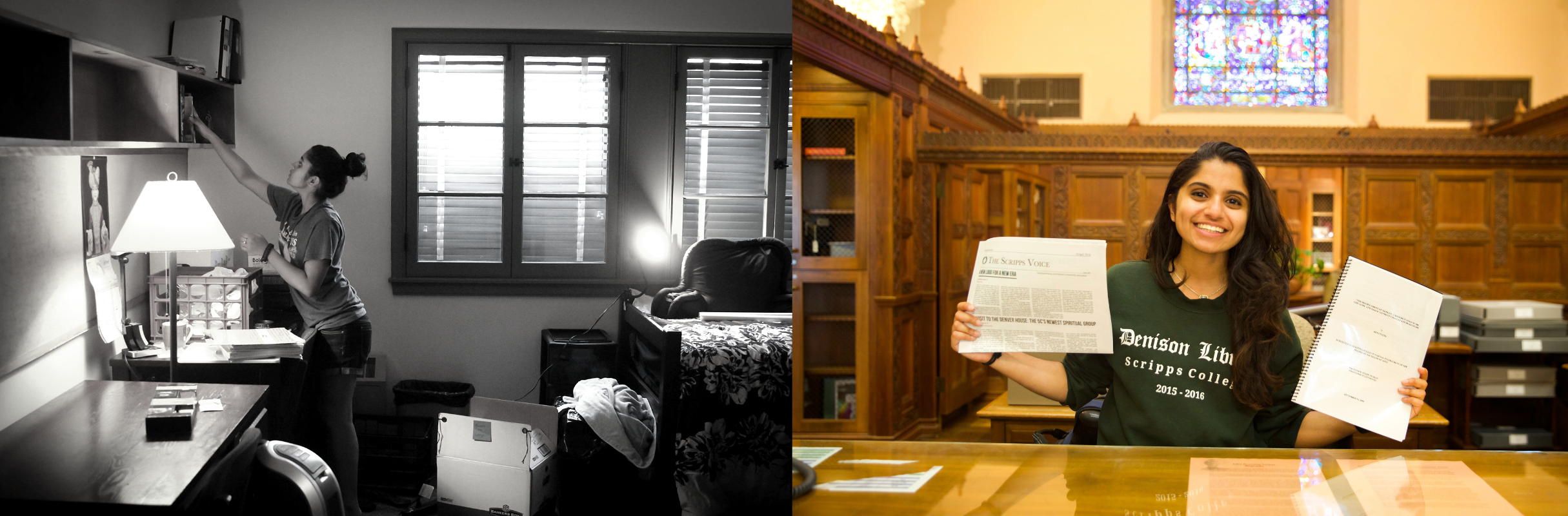 A black and white picture of a young South Asian woman in her dorm room next to a color picture of the young woman smiling at a table while holding up papers in a library.