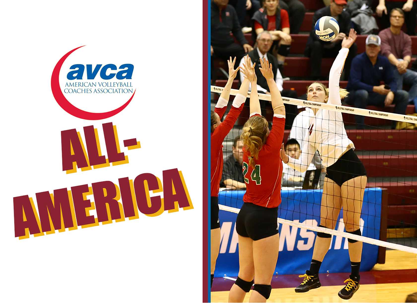 A logo saying 'AVCA All-America' and picture of a young white woman spiking a volleyball during a game.