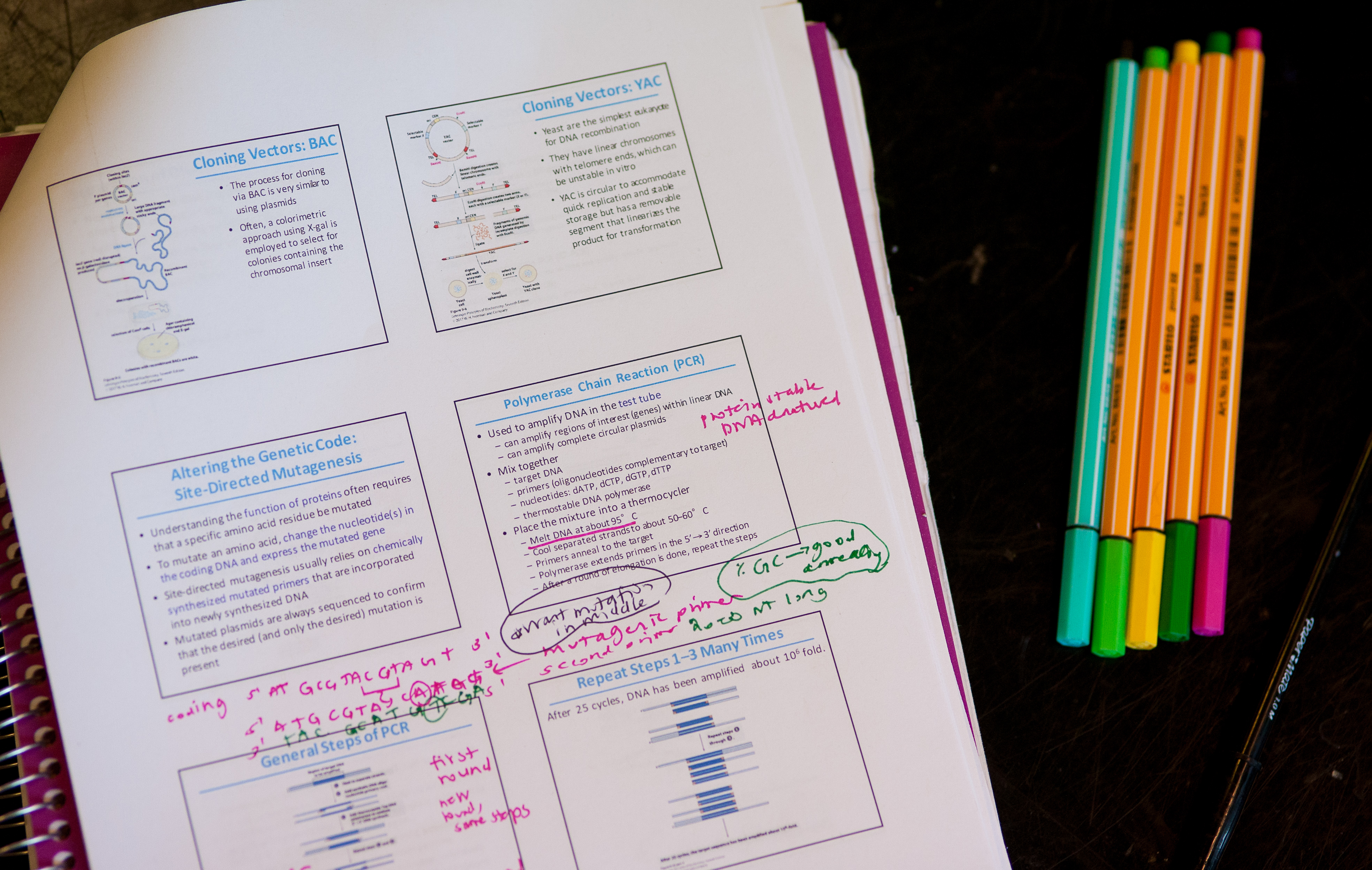 Colored pens and a notepacket with slides from a powerpoint.
