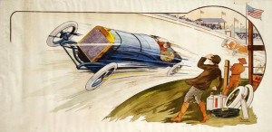 Indianapolis 1913, a rendering of a 19th century race car speeding through a track.